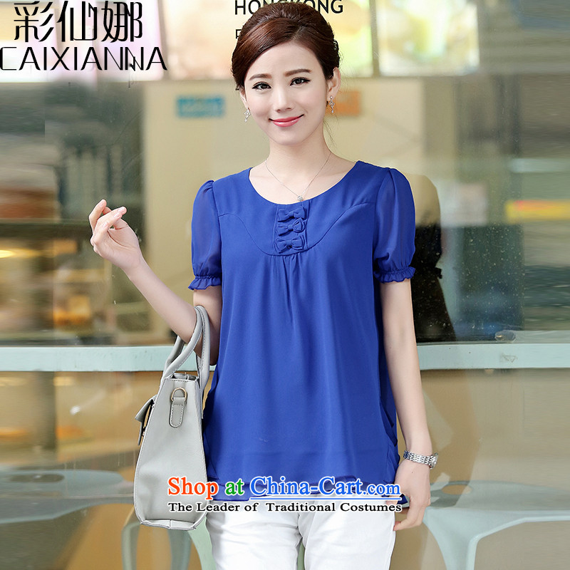 Also the�15 spring_summer sin with the new president short-sleeved shirt female double chiffon larger small blue shirt XL