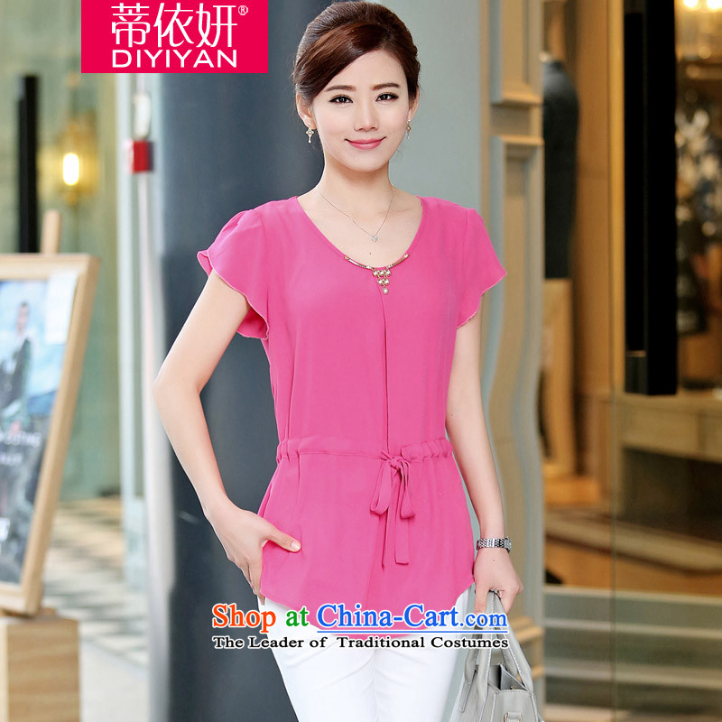 In accordance with the�15 Korea Yeon Opertti version stylish and simple large wild shirt drawcord waist video thin Sau San new summer chiffon D56527 shirts in red燲XL