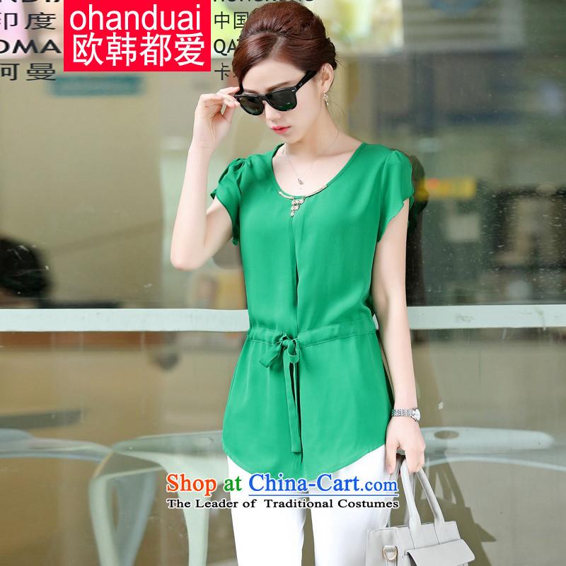 The OSCE is love won�15 MM thick summer new Korean version large thin women chiffon Netherlands shirt female OH56527 GREEN燲XL
