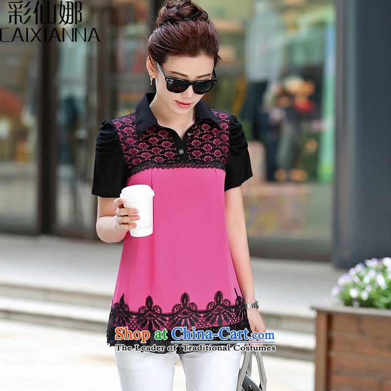 The 2015 summer of sin also new middle-aged female replacing Korean stitching lace short-sleeved shirt by forming the large red燣