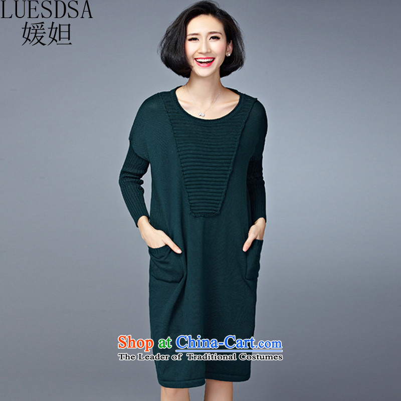 Yuan slot in the 2015 Fall_Winter Collections new Korean version of large numbers of ladies relaxd Sau San Video Plus thin long in thick wool sweater, forming the dress code are dark green YD110 100 to 200 catties can penetrate