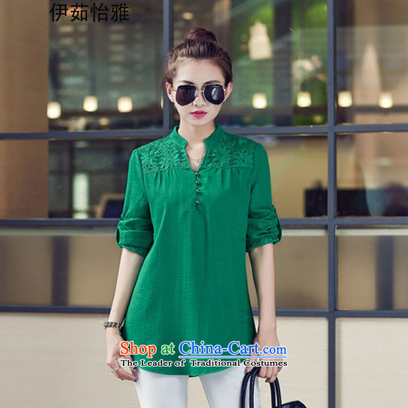 El-ju�15 Autumn Yee Nga New_ thick MM THIN large graphics to increase women's clothes YZ5287 shirt green燲XL