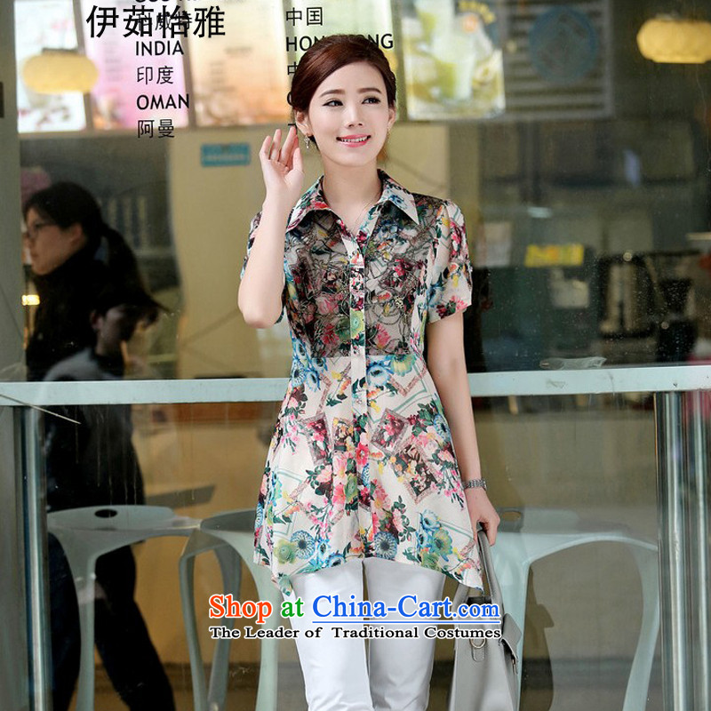 El-ju Yee Nga�15 Summer Korean lace stitching suit thick sister leisure short-sleeved shirt with large green XXXL YZ5382