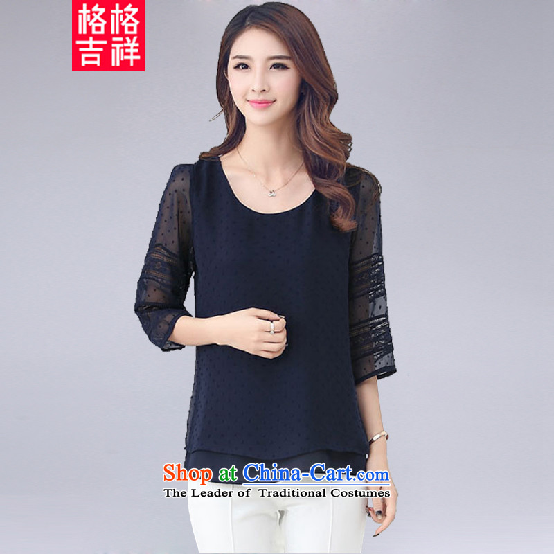 The interpolator auspicious?large 2015 Women's Summer new ethnic thick MM THIN biological aerial Sau San video cuff lace stitching t-shirt chiffon Netherlands 1505 Blue?2XL