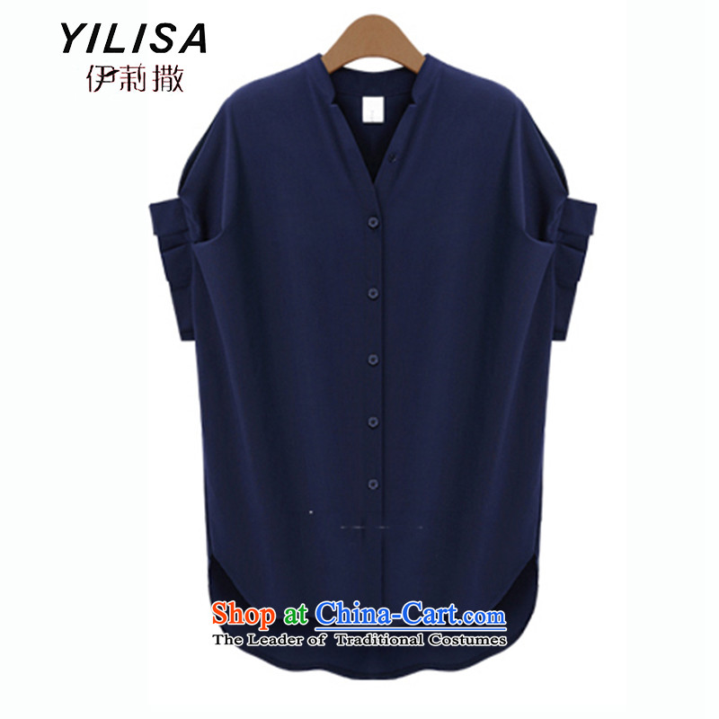 To increase the number YILISA Women 2015 Summer bat sleeves shirt thick mm summer new short-sleeved shirt with a very casual clothes K605 dark blue燲L