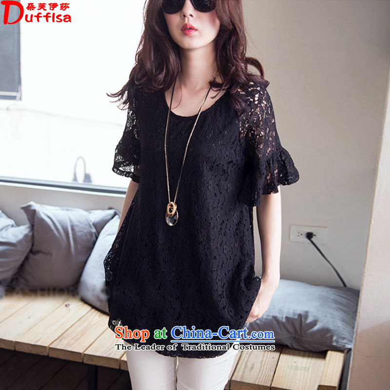 Flower to Isabelle�15 Summer new Korean version of fat mm to increase the number of lace, forming the basis of the Netherlands shirt燚1669 female燽lack燣