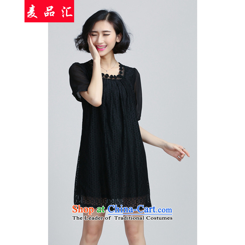 Mr Hui 2015 new products to increase women's code thick mm loose video in thin long gauze stitching Lace Embroidery chiffon dresses 6062 Black XXL