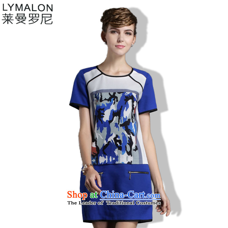 The lymalon lehmann thick, Hin thin Summer 2015 mm thick large European and American women to intensify the loose short-sleeved T-shirt chiffon 1,845 Blue燲XXXL