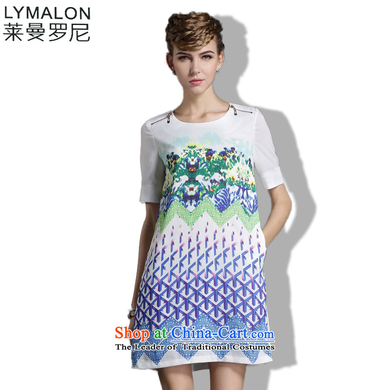 The lymalon lehmann thick, Hin thin Summer 2015 mm thick large European and American women to intensify the loose short-sleeved shirt 1859 5XL chiffon