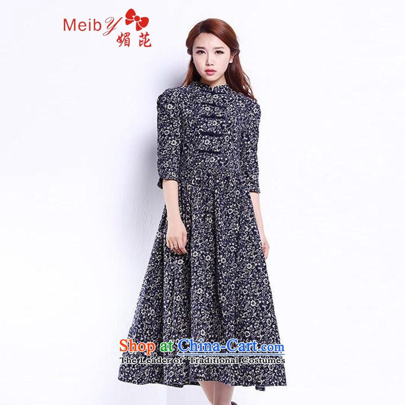 Large meiby female wild retro floral linen dresses in cotton linen cuff large long skirt picture color燤 0472