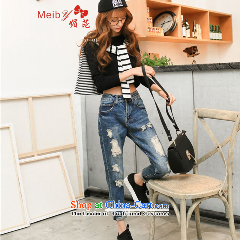Large meiby female wild _real concept_ Loose the hole in the wind BF jeans female Harlan trousers girl beggars trouser press 9 to the girl trousers female聽0509聽Blue聽30