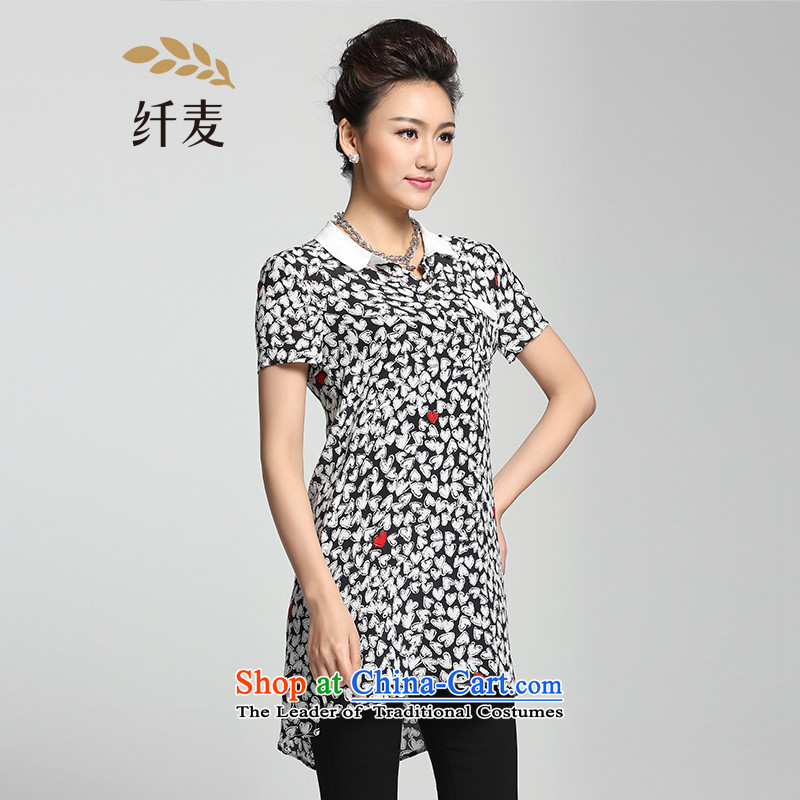 The former Yugoslavia Migdal Code women 2015 Summer new thick black and white colors and stylish mm knocked loose shirt�2013231 spend牋3XL Black and White