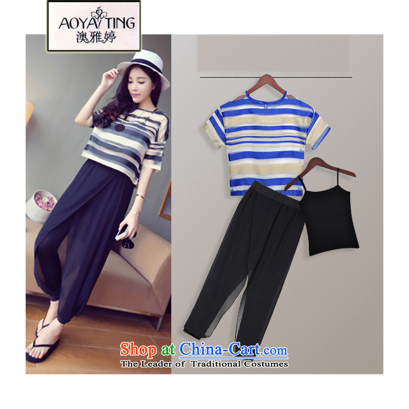 O Ya-ting聽2015 new to increase women's code thick MM Summer Snow woven shirts Harun Capri Kit female dark blue stripes two kits聽3XL聽recommends that you 145 - 175 catties