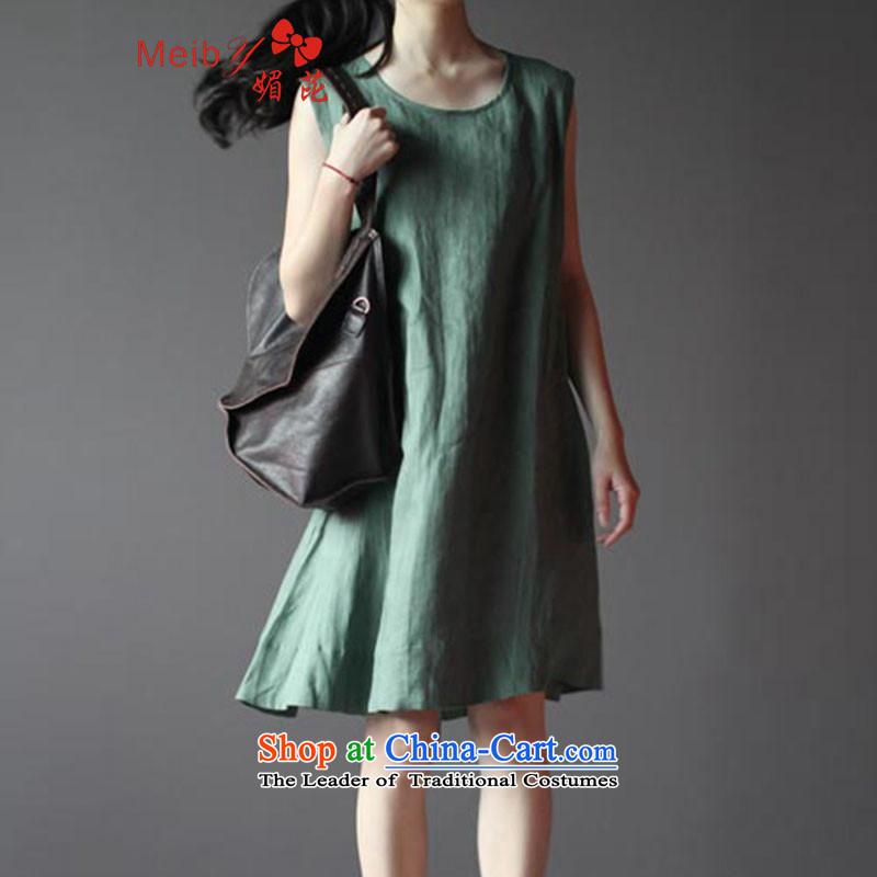 Large meiby female wild 2014 Summer new arts sum female cotton linen large relaxd linen vest sleeveless dresses spot of net green linen 960 quality聽M