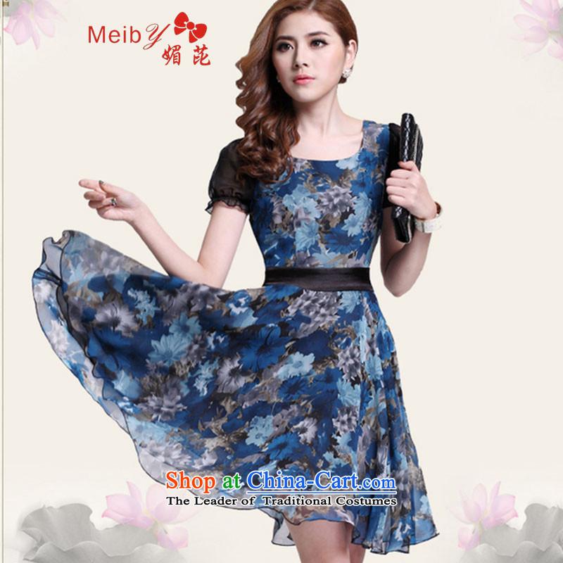 Maximum number of ladies wild Sleek and versatile large Korean version of the new summer chiffon OL dresses saika larger female Dress Suit 1123XL