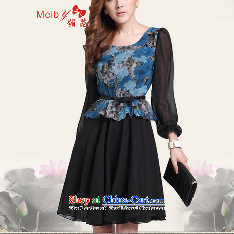 Large meiby female wild stylish large wild autumn new long-sleeved Pullover large floral dresses OL Couture fashion color photo 1160 M