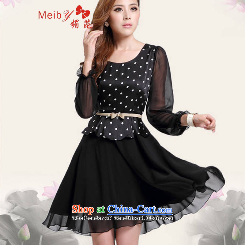 Large meiby female wild Sleek and versatile large new spring and autumn OL Couture fashion larger dresses 1161 black dot L