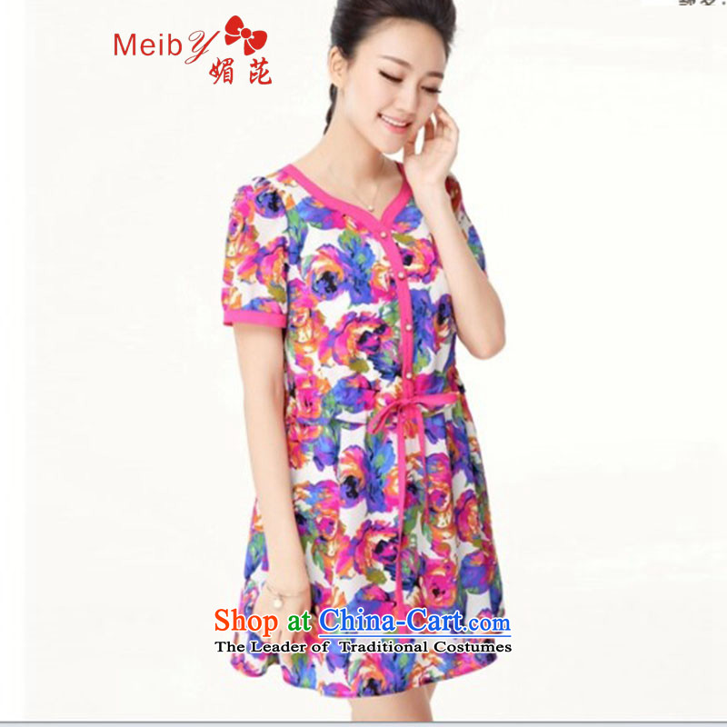 Maximum number of ladies large wild women 2014 Summer new stylish Sweet color mm thick flower Sau San short-sleeved dresses _1373 picture color large code 4XL