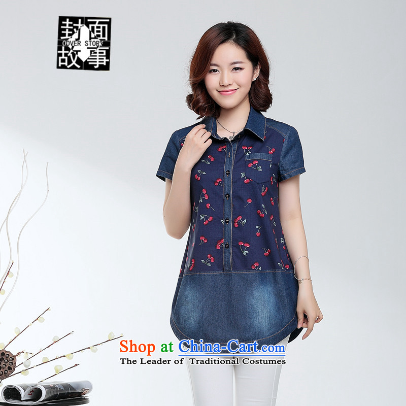 Cover Story 2015 Summer linen T shirt larger female middle-aged moms with cowboy loose cotton linen short-sleeved shirt female clothes navy blue聽XXL