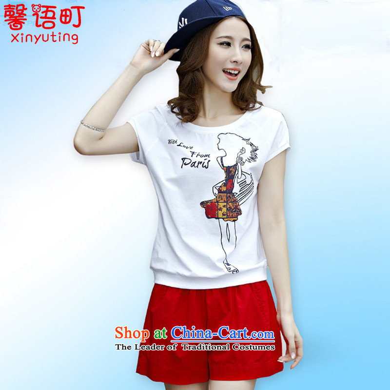 In the summer of 2015, Cho Jae-hyung, the new large female stamp shorts, short-sleeved T-shirt Leisure Suite 1825 Red XL