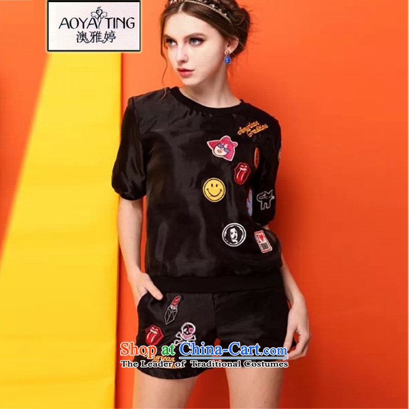 O Ya-ting�15 new to increase women's code thick MM summer short-sleeved T-shirt shorts leisure wears black girl�L two kits�5-165 recommends that you Jin