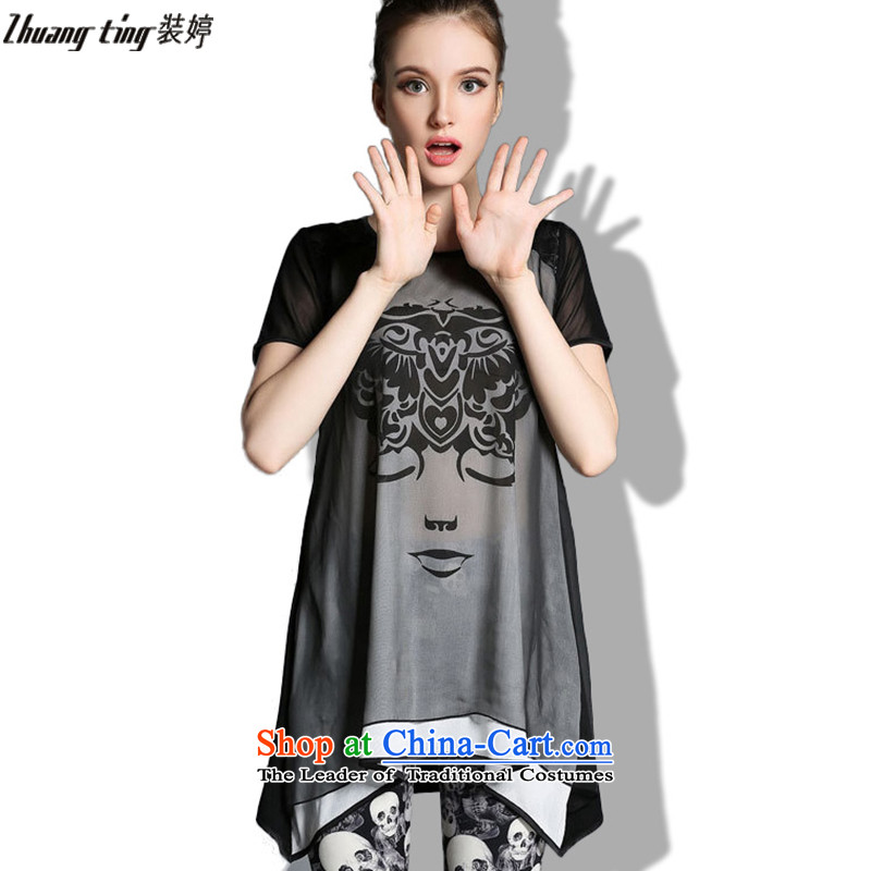 _replace as soon as possible, Hin Ting thick 2015 Summer thin new high-end western thick mm maximum code to increase women's loose short-sleeved T-shirt color photo 1823 XL