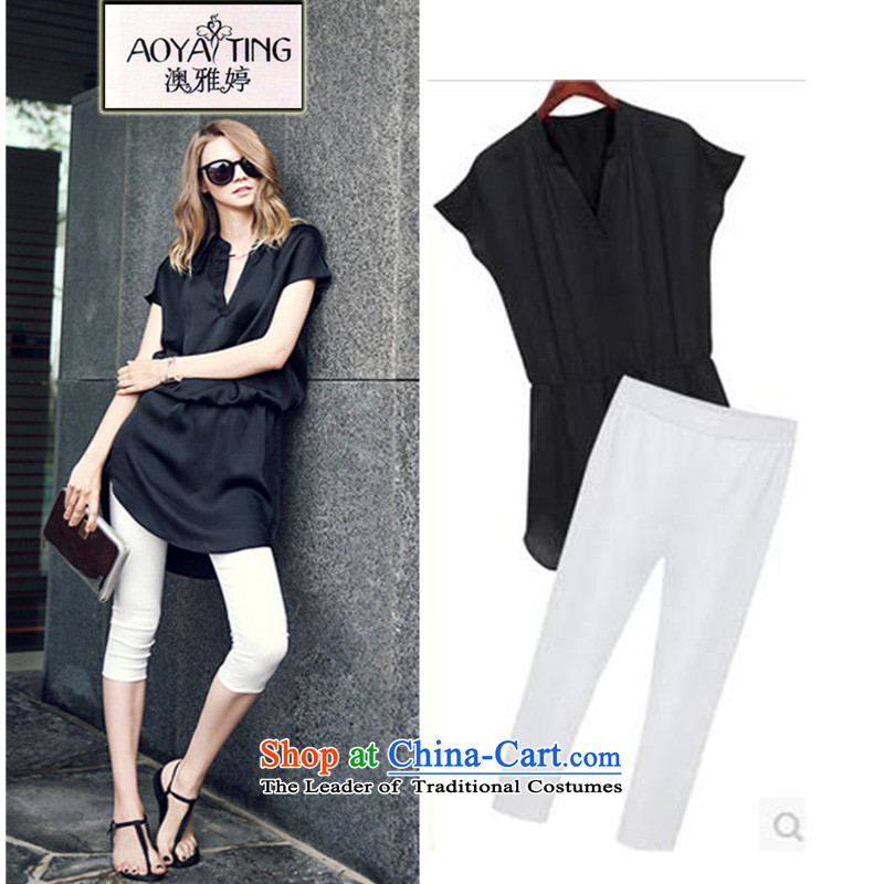 O Ya-ting 2015 new to increase women's code mmv thick collar short-sleeve T-shirt 7 chiffon trouser press kit summer black two kits 175-200 5XL recommends that you Jin