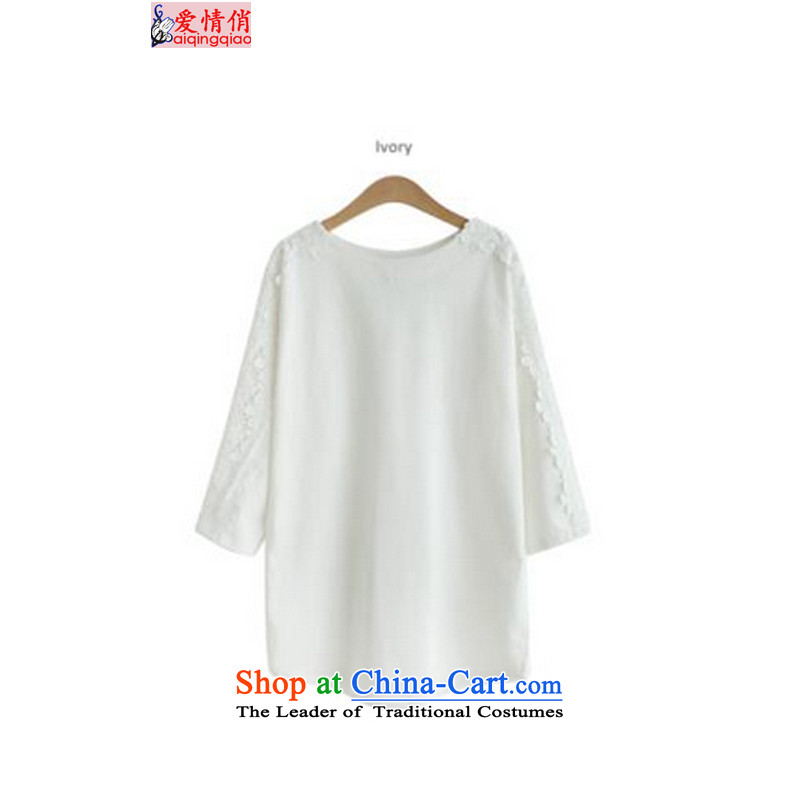 Love is the new big code 2015 women thick MM round-neck collar lace stitching loose seven female ff1605 sleeved shirt large white code XXXXL spot