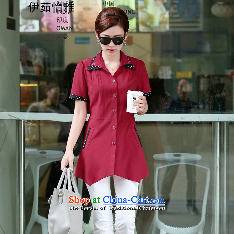 El-ju Yee Ngalarge load autumn 2015 Women's 4XL new version of Korea's sister video thin loose dot shirts YY6282 chestnut horses short-sleevedXXXL