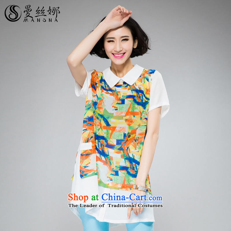 The population of the Cayman larger female thick MM Summer 2015 new products in Korean long stamp video short-sleeved thin chiffon shirt orange 3XL