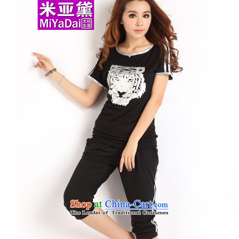 The Doi larger female kit fat mm Summer 2015 new Korean version thin thick short-sleeved SISTER CAPRI Sports _ Leisure package to Black _Silver_ 2XL_ pattern ironing recommendations 120-140 catties_