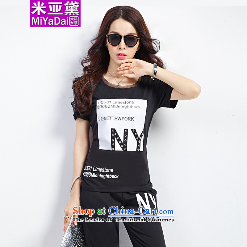 The Doi larger female kit fat mm Summer 2015 new Korean version thin thick sister Sports _ Leisure Package to 200 catties kit black XL_ recommendations 120-140 catties_