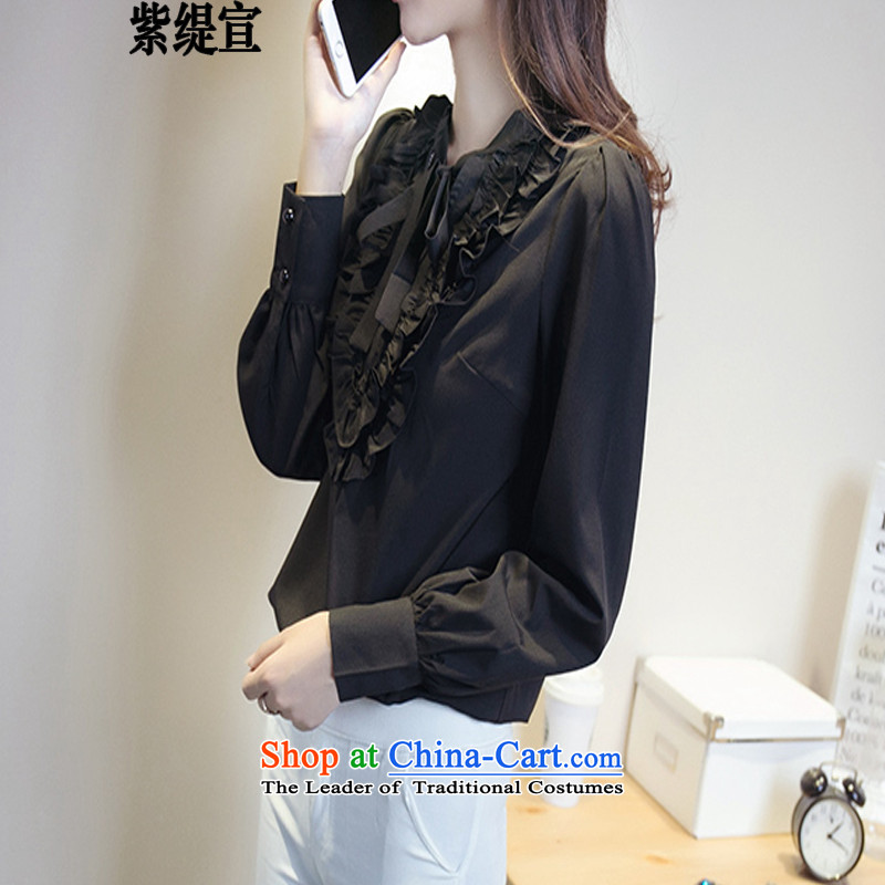 The first declared to economy xl female thick mm spring and autumn the new Korean long-sleeved shirt shirt chiffon forming the Netherlands 6217_ T-shirt and black shirt 5XL around 922.747 180-200