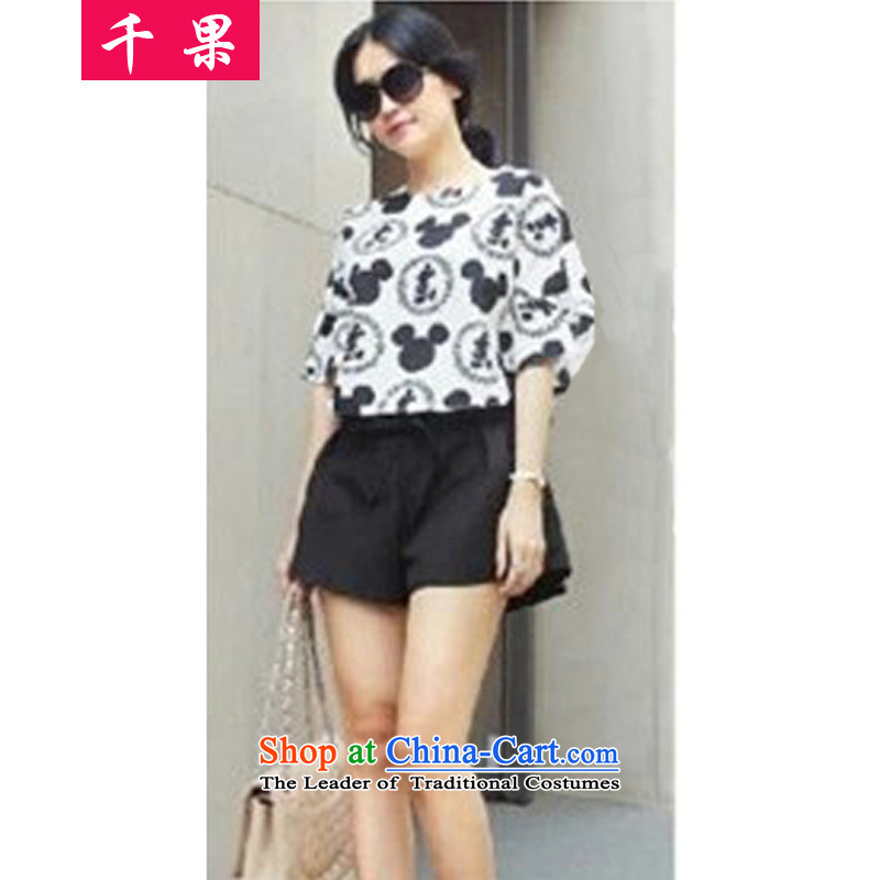 Thousands of fat XL COGA video thin Kit 2015 New Korea summer edition 200 catties thick MM stamp T-shirt shorts loose two Kit 5838 Mickey shirt + black shorts XL100-120 around 922.747