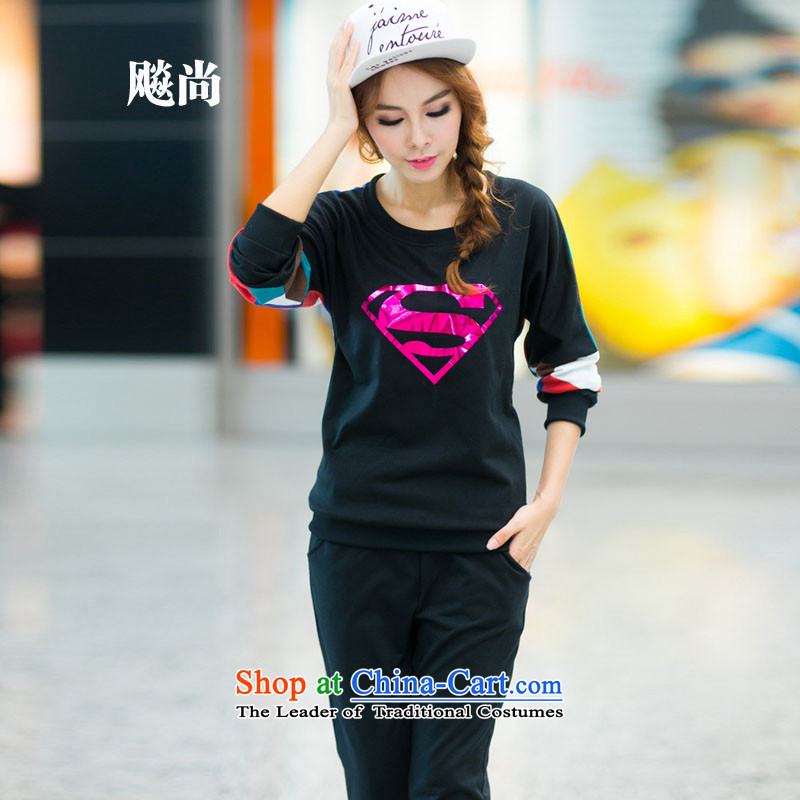 2015 Spring and Fall new larger female Women's clothes is a long-sleeved black sports suits L