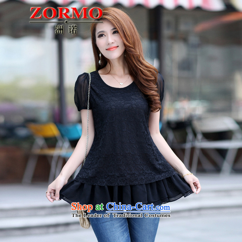 The Korean version of the female ZORMO 2015 Summer new larger lace t shirt thick mm to xl dolls XXXL black T-Shirts