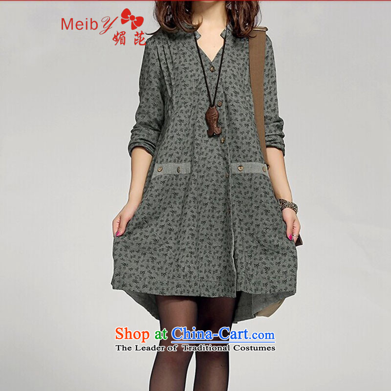 Maximum number of ladies wild spring 2015 new larger women in long cotton linen dresses Linen Dress 3531 water green L