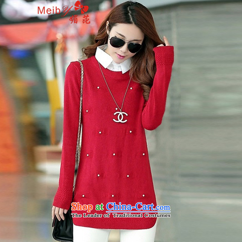 Maximum number of women to intensify the autumn and winter new stylish shirt collar workers in Korean long leave two pieces of knitted shirt, forming the hedging long-sleeved sweater牋3XL 6209 Red