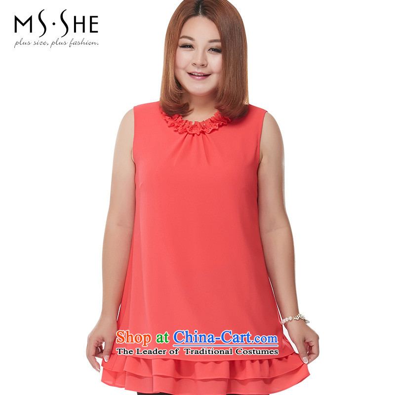 To increase the number MSSHE Women 2015 new summer billowy flounces round-neck collar thick mm vest chiffon shirt 2739th west red XL
