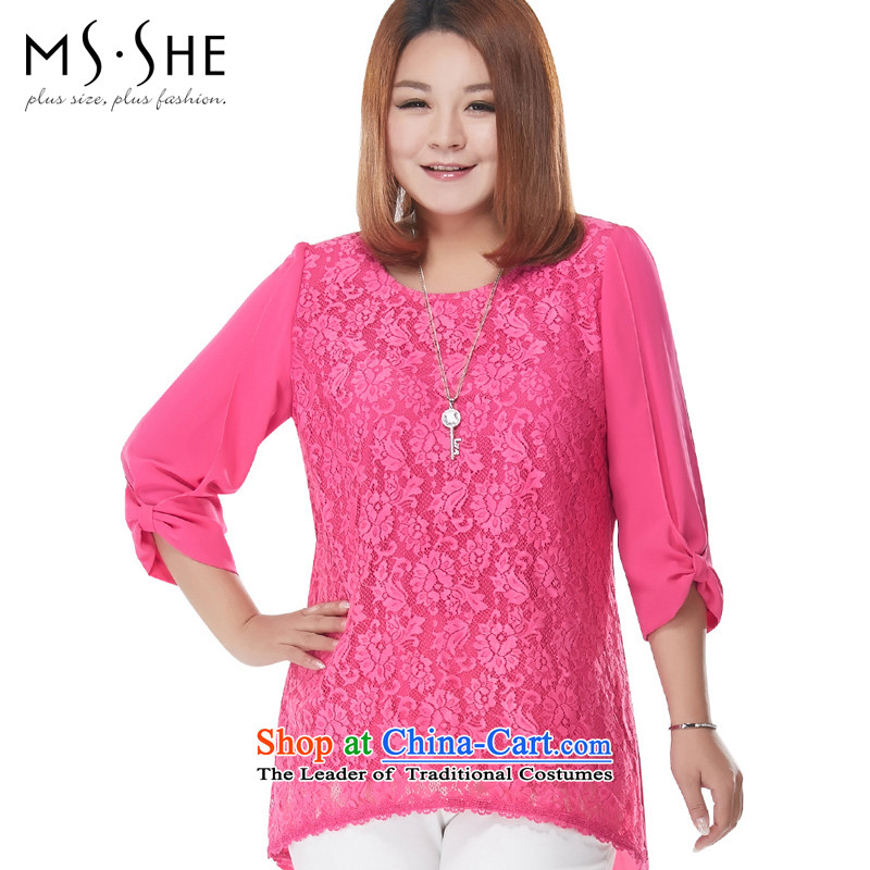 Msshe xl female chiffon Netherlands 2015 autumn in new paragraph 7 to the long-sleeved lace Flower Snow woven shirts 4055th Red 4XL