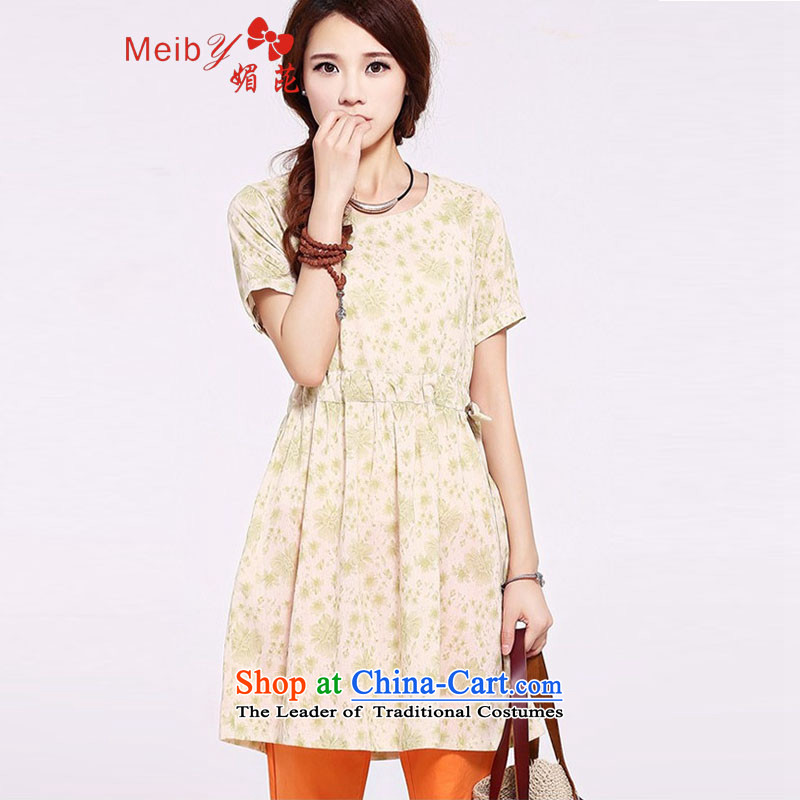 Maximum number of ladies wild ethnic cotton linen dresses 2014 new summer for women short-sleeved saika Foutune of Linen Dress6723 light green聽XXL