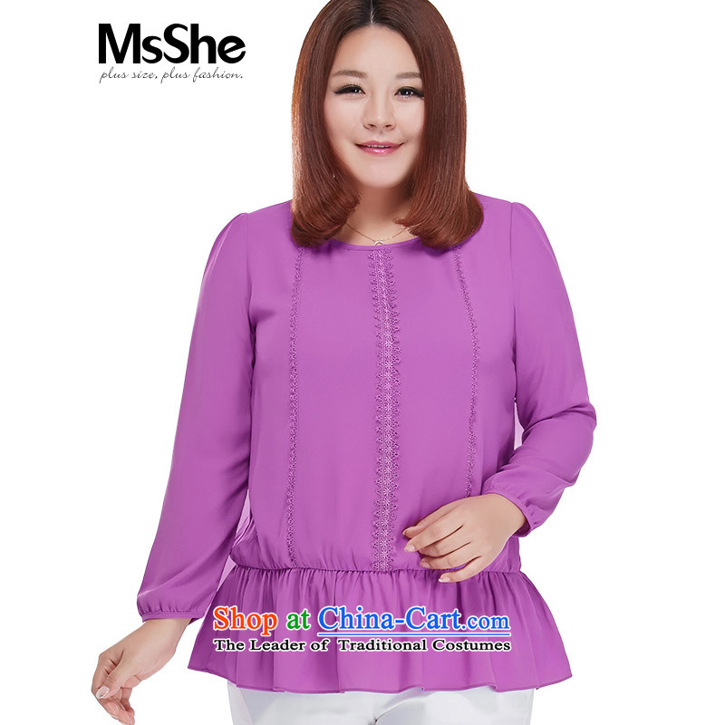 To increase the number msshe women 2015 new autumn replacing thick mm chiffon lace up long-sleeved shirt 2552 5XL Purple