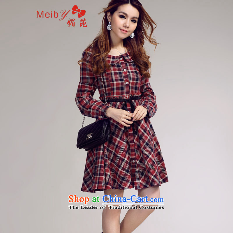 Maximum number of ladies wild date of sweet preppy doll collar latticed long-sleeved skirt _real_ color photo shoot 8,675聽M