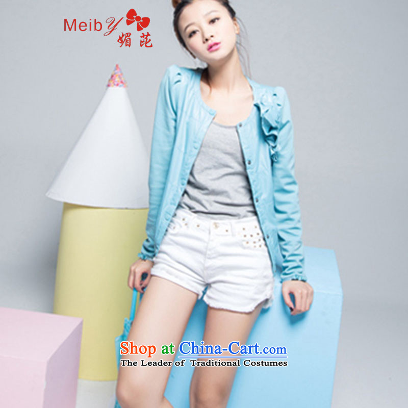 Large meiby female wild autumn replacing new products video thin wild Korean jacket female jacket _spot_ 9079_ light blue XXL