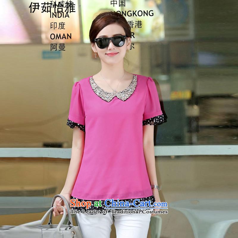 El-ju Yee Nga to xl female chiffon shirt summer new doll for thick, Hin thin MOM pack chiffon YZ5261 shirts in redL