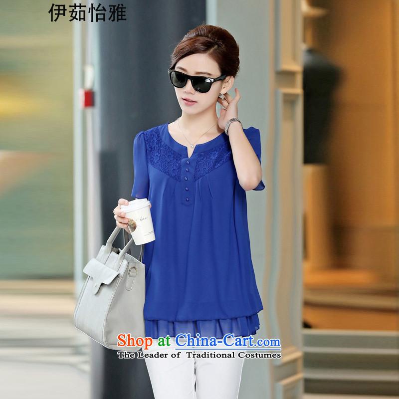 El-ju Yee Nga MOM 2015 summer load new Korean version of Fat MM lace stitching double-decker Big Code women chiffon shirt YZ5263 BLUEXL
