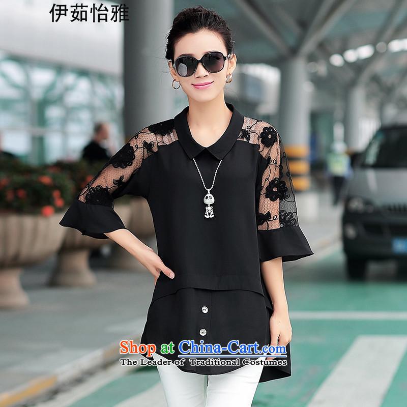 El-ju�15 Autumn Yee Nga new high-code women chiffon shirt to intensify the Netherlands YZ5267 forming the black燣