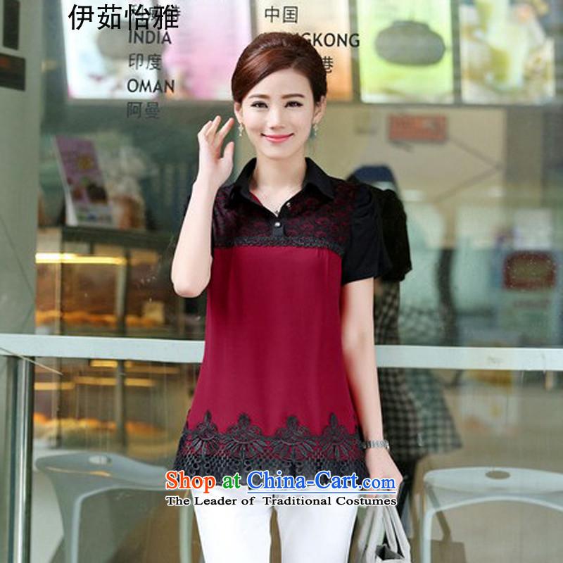 El-ju Yee Nga�15 Summer Knitted cuffs lace stitching chiffon shirt thick sister larger T-shirts YZ5288 BOURDEAUX燲XXL