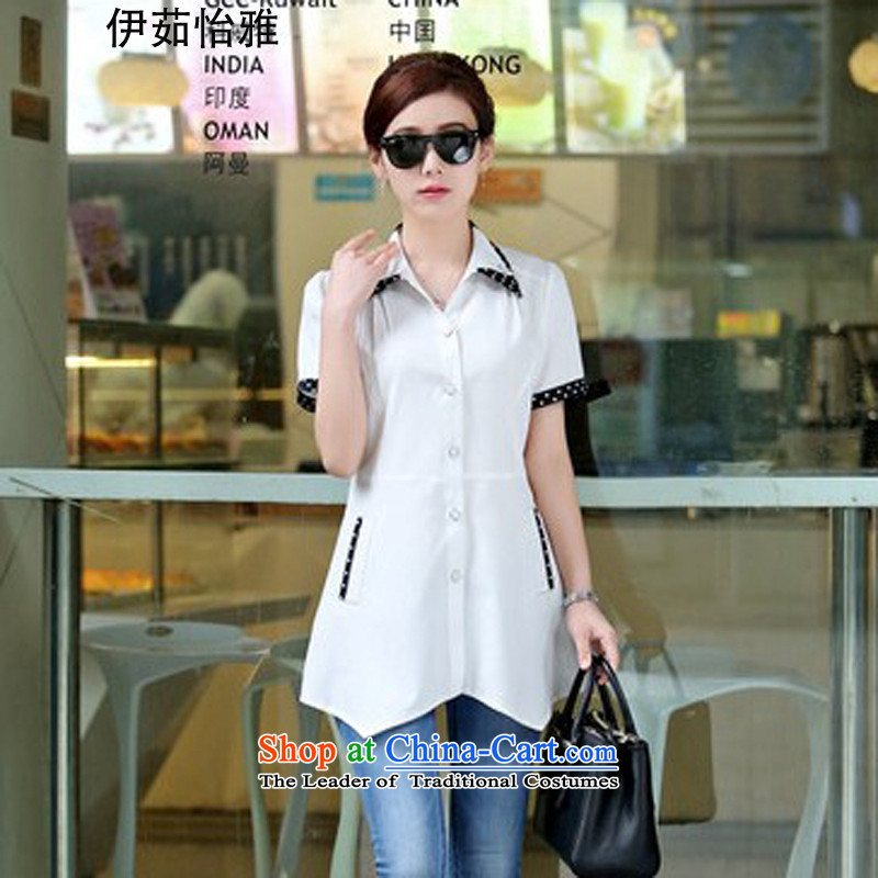El-ju Yee Nga 2015 Summer in long OL dot patterns stitching short-sleeved shirt with large YZ5269 white short-sleeved L