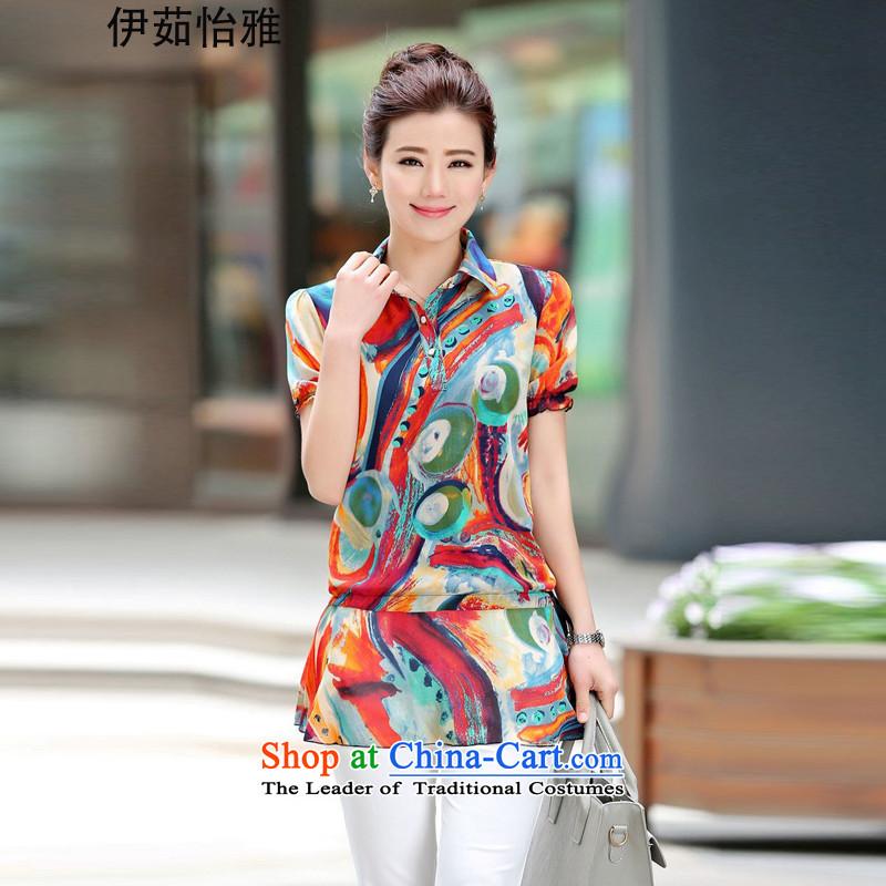 El-ju Yee Nga�15 Summer thick, Hin thin large short-sleeved blouses chiffon shirt YZ5365 ORANGE燲XL